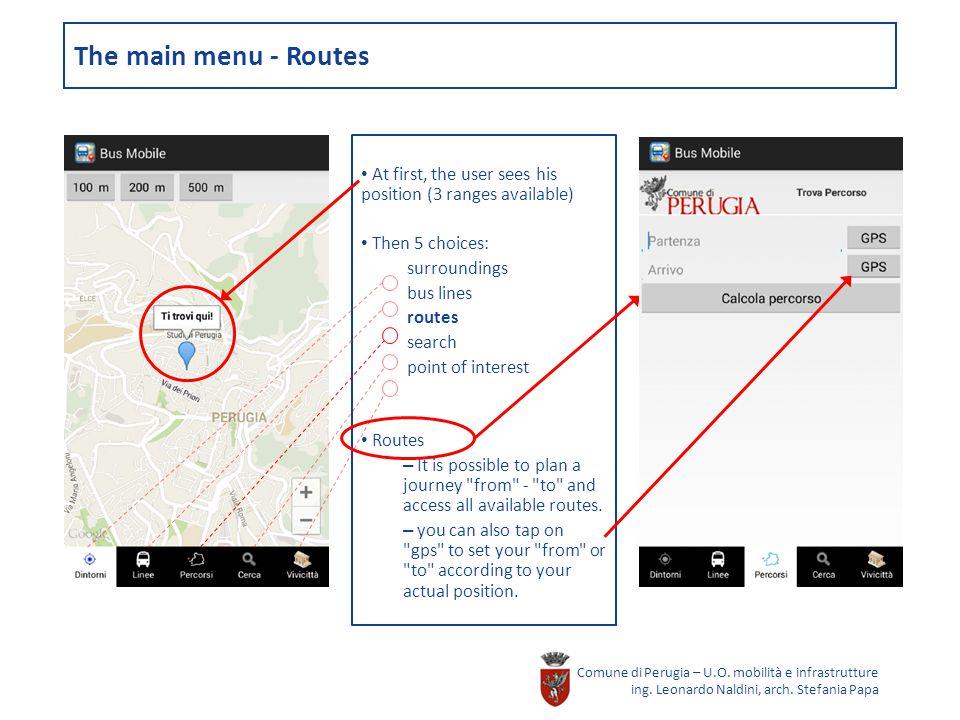 The main menu - Routes Comune di Perugia – U.O. mobilità e infrastrutture ing.