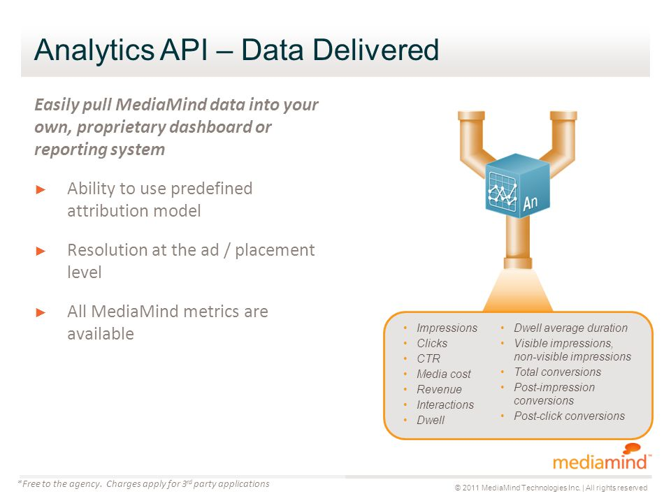 Analytics API – Data Delivered Easily pull MediaMind data into your own, proprietary dashboard or reporting system ► Ability to use predefined attribution model ► Resolution at the ad / placement level ► All MediaMind metrics are available *Free to the agency.
