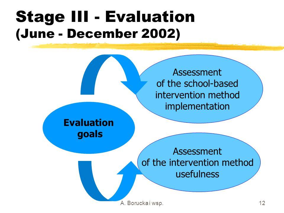 A. Borucka i wsp.12 Stage III - Evaluation (June - December 2002) Evaluation goals Assessment of the school-based intervention method implementation A