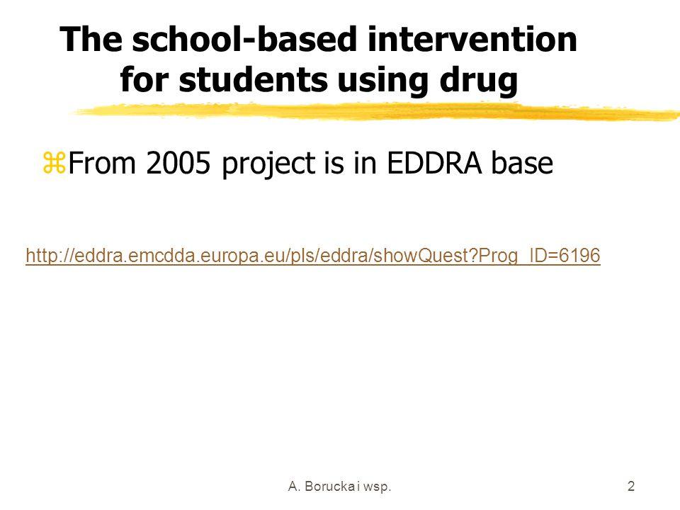 A. Borucka i wsp.2 The school-based intervention for students using drug zFrom 2005 project is in EDDRA base http://eddra.emcdda.europa.eu/pls/eddra/s