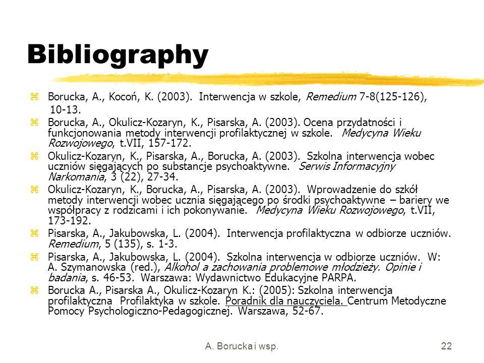 A. Borucka i wsp.22 Bibliography zBorucka, A., Kocoń, K. (2003). Interwencja w szkole, Remedium 7-8(125-126), 10-13. zBorucka, A., Okulicz-Kozaryn, K.