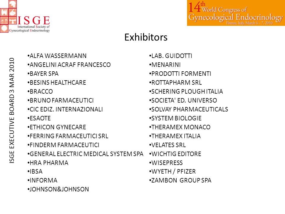 Exhibitors ALFA WASSERMANN ANGELINI ACRAF FRANCESCO BAYER SPA BESINS HEALTHCARE BRACCO BRUNO FARMACEUTICI CIC EDIZ.