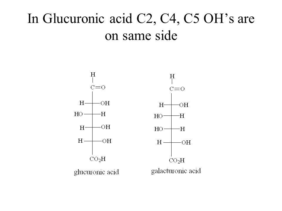 In Glucuronic acid C2, C4, C5 OH's are on same side