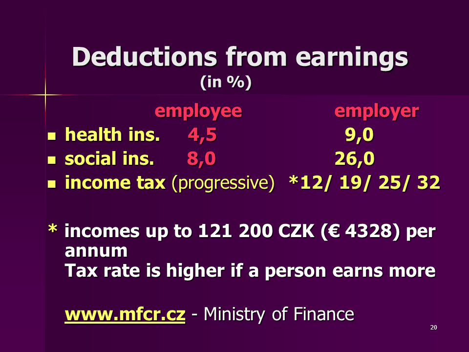 20 Deductions from earnings (in %) Deductions from earnings (in %) employee employer employee employer health ins.4,5 9,0 health ins.4,5 9,0 social ins.