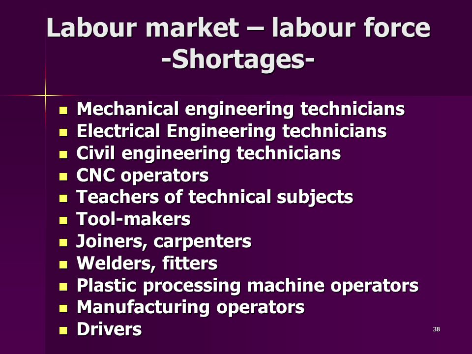 38 Labour market – labour force -Shortages- Mechanical engineering technicians Mechanical engineering technicians Electrical Engineering technicians Electrical Engineering technicians Civil engineering technicians Civil engineering technicians CNC operators CNC operators Teachers of technical subjects Teachers of technical subjects Tool-makers Tool-makers Joiners, carpenters Joiners, carpenters Welders, fitters Welders, fitters Plastic processing machine operators Plastic processing machine operators Manufacturing operators Manufacturing operators Drivers Drivers