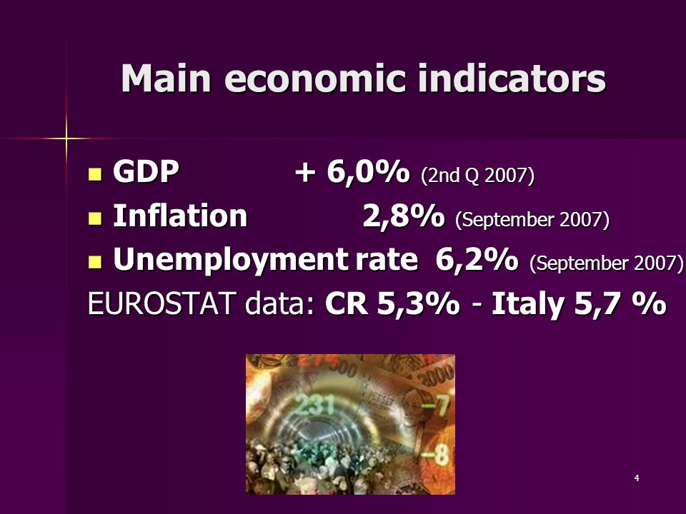 4 Main economic indicators GDP+ 6,0% (2nd Q 2007) GDP+ 6,0% (2nd Q 2007) Inflation2,8% (September 2007) Inflation2,8% (September 2007) Unemployment rate 6,2% (September 2007) Unemployment rate 6,2% (September 2007) EUROSTAT data: CR 5,3% - Italy 5,7 %