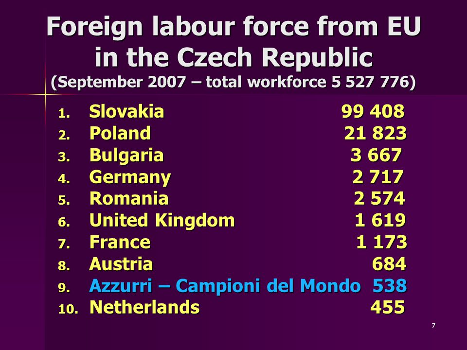 7 Foreign labour force from EU in the Czech Republic (September 2007 – total workforce 5 527 776) 1.