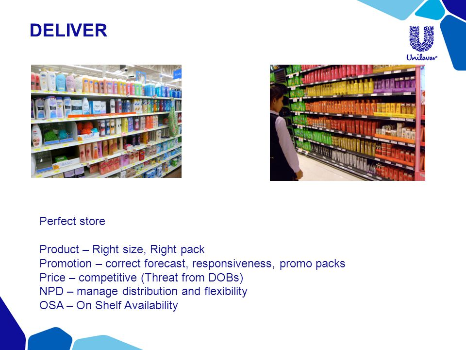DELIVER Perfect store Product – Right size, Right pack Promotion – correct forecast, responsiveness, promo packs Price – competitive (Threat from DOBs) NPD – manage distribution and flexibility OSA – On Shelf Availability