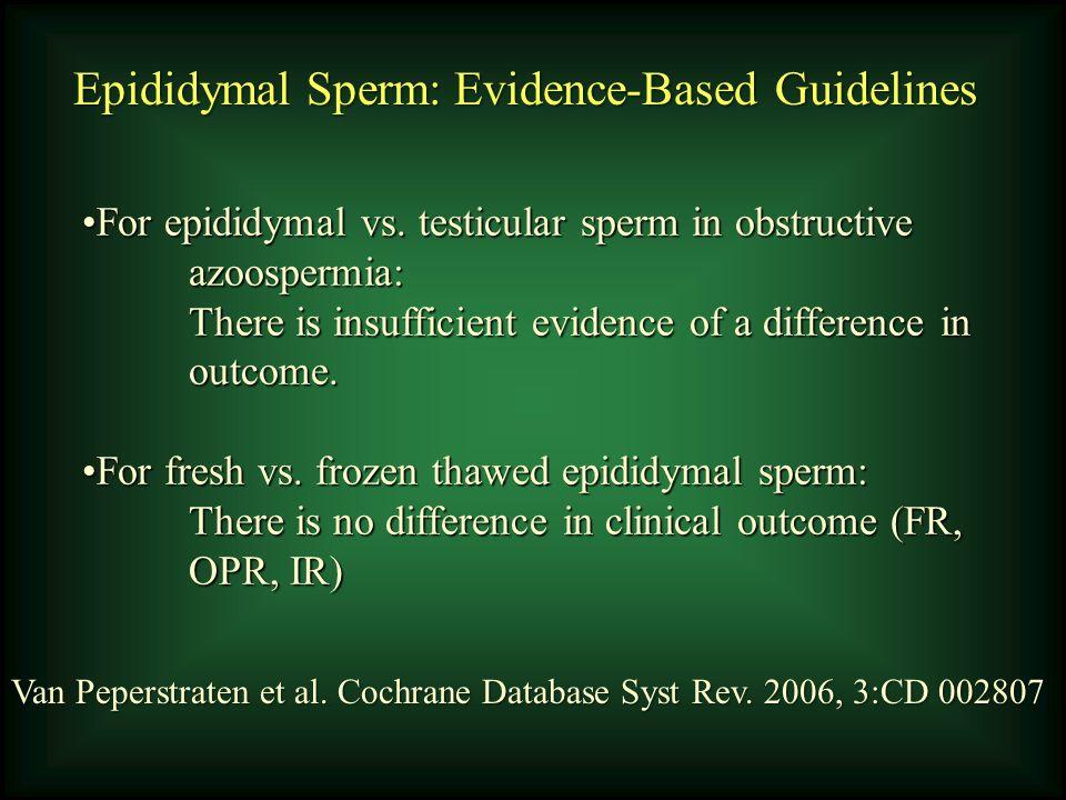Epididymal Sperm: Evidence-Based Guidelines Van Peperstraten et al. Cochrane Database Syst Rev. 2006, 3:CD 002807 For epididymal vs. testicular sperm