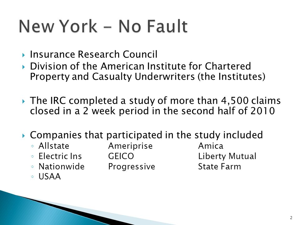  Insurance Research Council  Division of the American Institute for Chartered Property and Casualty Underwriters (the Institutes)  The IRC completed a study of more than 4,500 claims closed in a 2 week period in the second half of 2010  Companies that participated in the study included ◦ AllstateAmeripriseAmica ◦ Electric InsGEICOLiberty Mutual ◦ NationwideProgressiveState Farm ◦ USAA 2