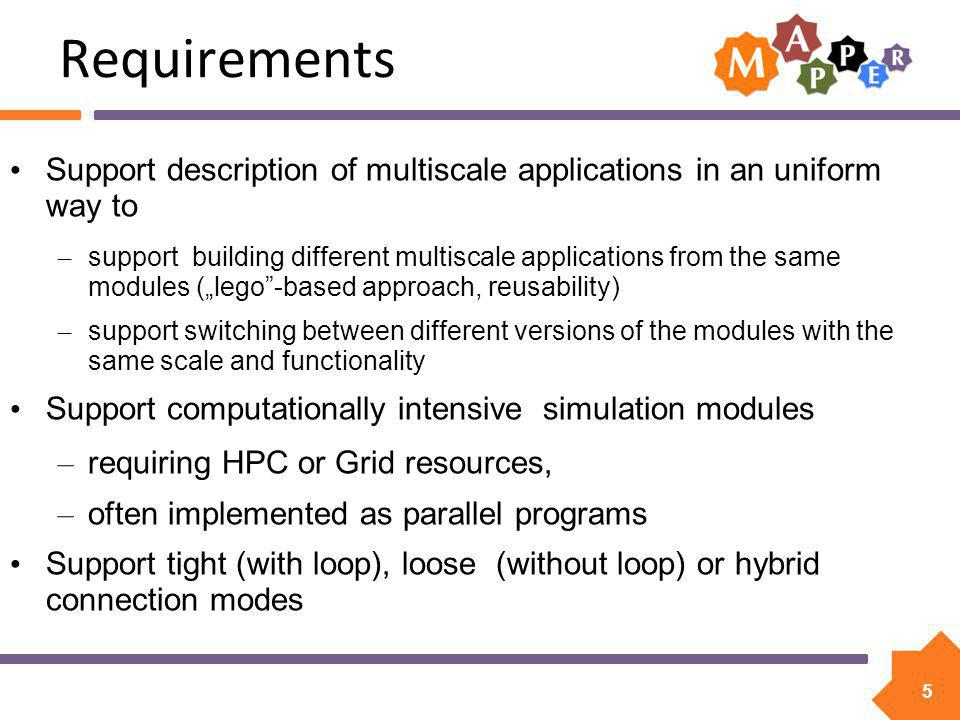 6 Building and Executing Multiscale Application Process of constructing multiscale application consists of different steps Most of these steps can be facilitated by: – common Multiscale Description Language (MML) - orange – programming and execution tools - blue – services accessing e- infrastructure - green