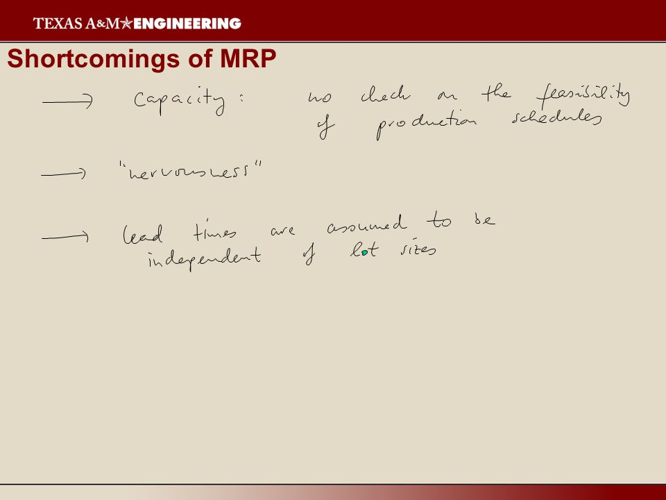 Shortcomings of MRP