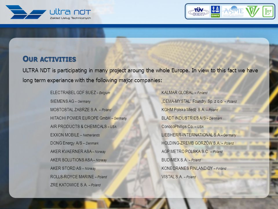 O UR ACTIVITIES ULTRA NDT is participating in many project aroung the whole Europe.
