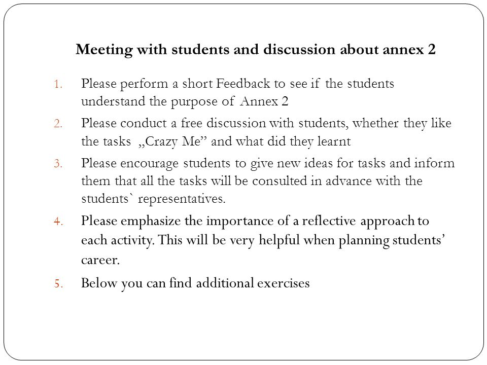 Meeting with students and discussion about annex 2 1.