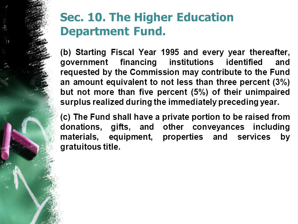 Sec. 10. The Higher Education Department Fund. (b) Starting Fiscal Year 1995 and every year thereafter, government financing institutions identified a