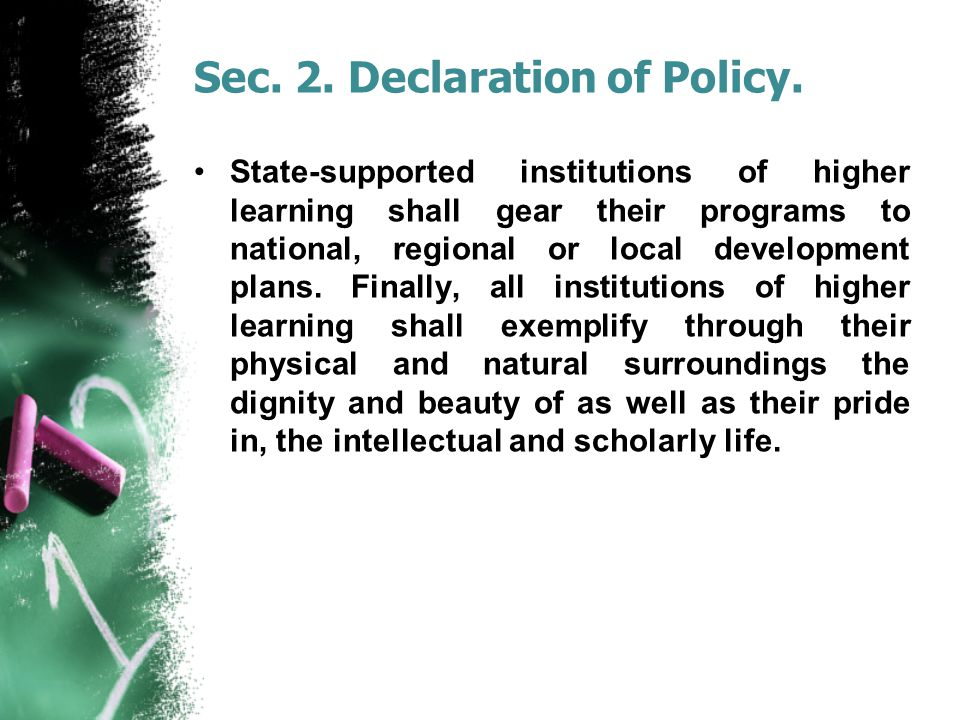 Sec.2. Declaration of Policy.