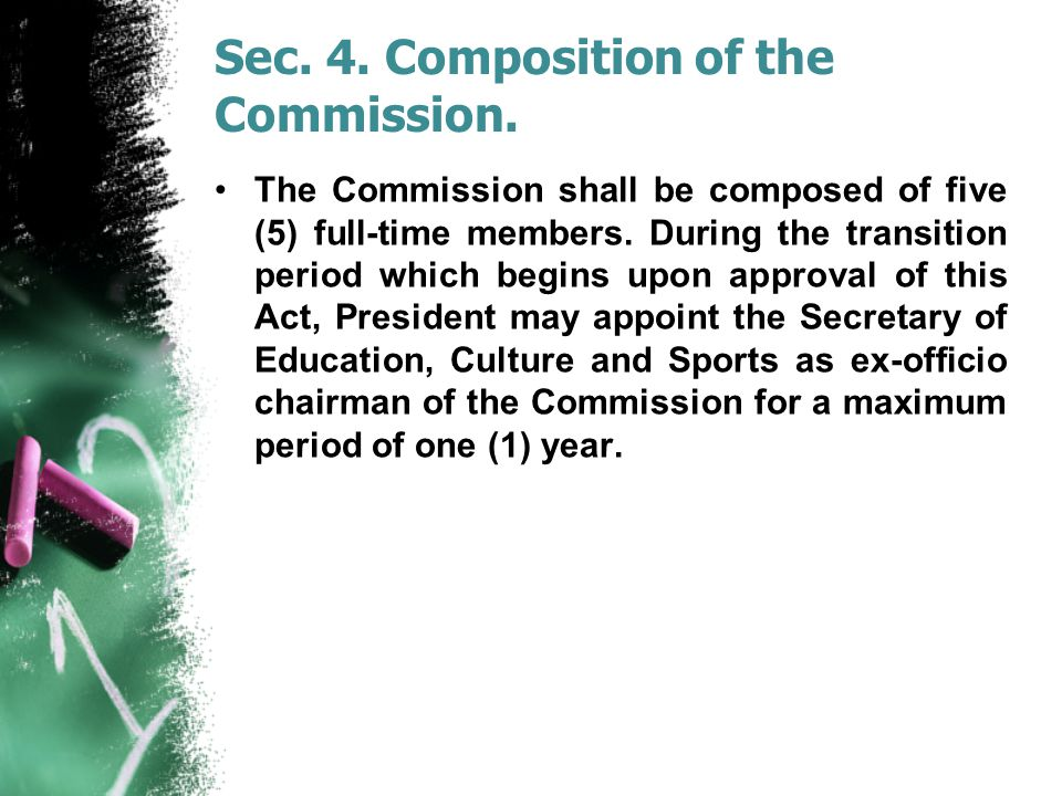 Sec.4. Composition of the Commission.