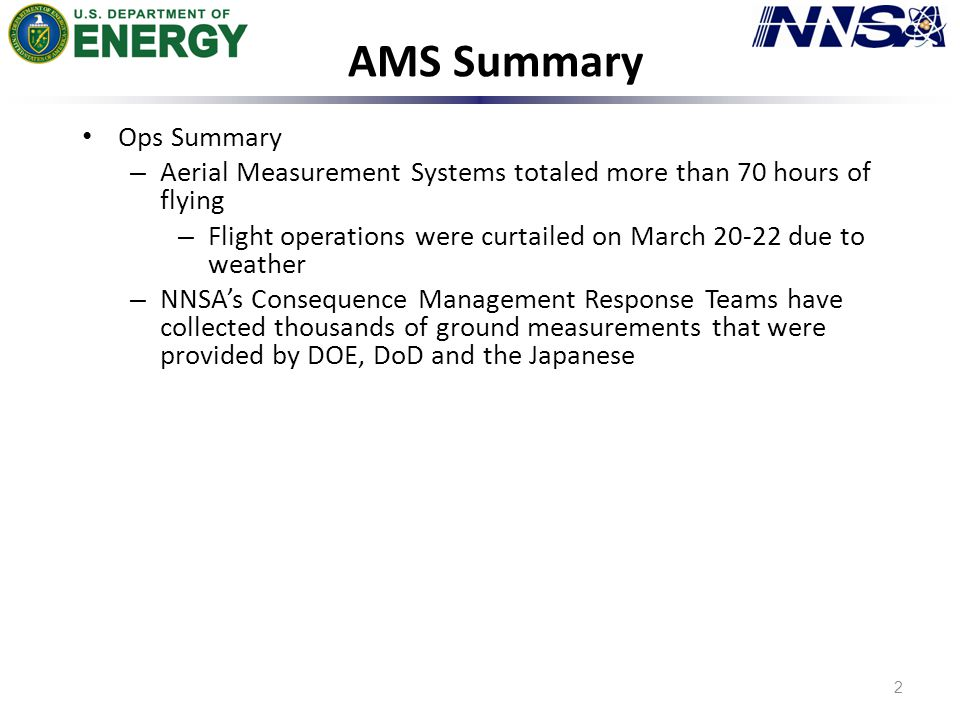AMS Summary 2 Ops Summary – Aerial Measurement Systems totaled more than 70 hours of flying – Flight operations were curtailed on March 20-22 due to weather – NNSA's Consequence Management Response Teams have collected thousands of ground measurements that were provided by DOE, DoD and the Japanese