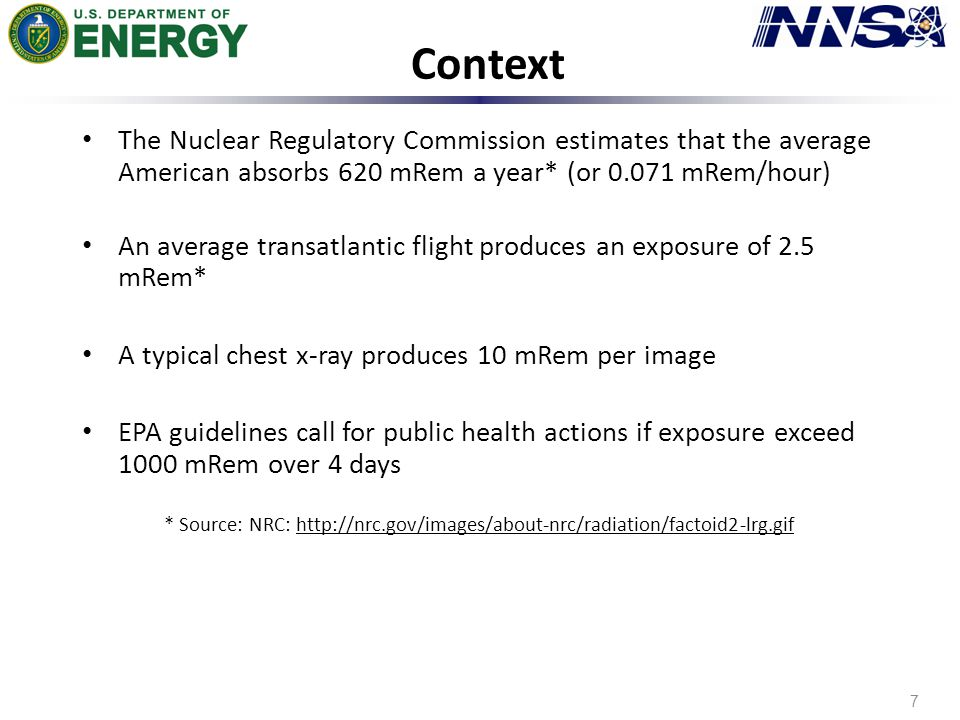 Context 7 The Nuclear Regulatory Commission estimates that the average American absorbs 620 mRem a year* (or 0.071 mRem/hour) An average transatlantic flight produces an exposure of 2.5 mRem* A typical chest x-ray produces 10 mRem per image EPA guidelines call for public health actions if exposure exceed 1000 mRem over 4 days * Source: NRC: http://nrc.gov/images/about-nrc/radiation/factoid2-lrg.gif