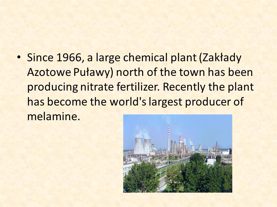 Since 1966, a large chemical plant (Zakłady Azotowe Puławy) north of the town has been producing nitrate fertilizer.