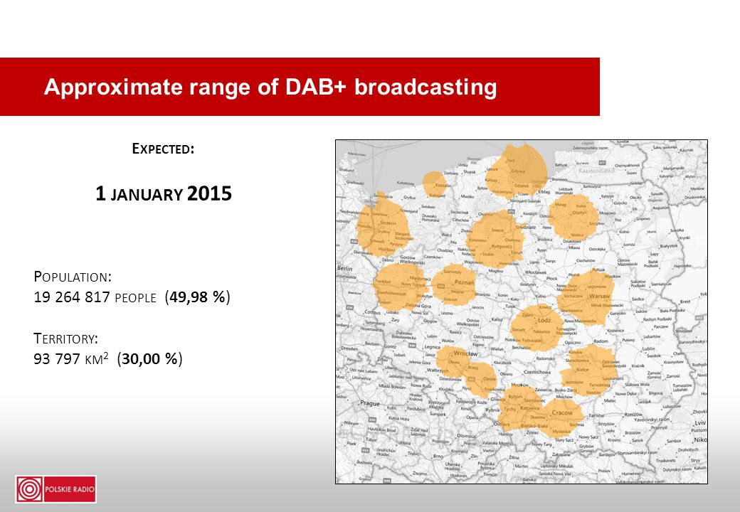 Approximate range of DAB+ broadcasting E XPECTED : 1 JANUARY 2015 P OPULATION : 19 264 817 PEOPLE (49,98 %) T ERRITORY : 93 797 KM 2 (30,00 %)
