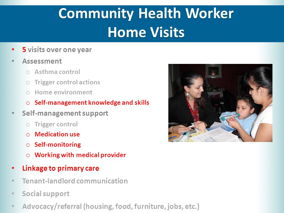 5 visits over one year Assessment o Asthma control o Trigger control actions o Home environment o Self-management knowledge and skills Self-management support o Trigger control o Medication use o Self-monitoring o Working with medical provider Linkage to primary care Tenant-landlord communication Social support Advocacy/referral (housing, food, furniture, jobs, etc.) Community Health Worker Home Visits