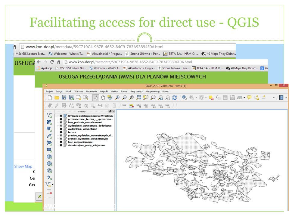 Facilitating access for direct use - QGIS A.Iwaniak, The INSPIRE Conference 2014, Aalborg, 16-20 June 2014 Workshop On Linked Open Data, GI_FORUM 2014 Salzburg