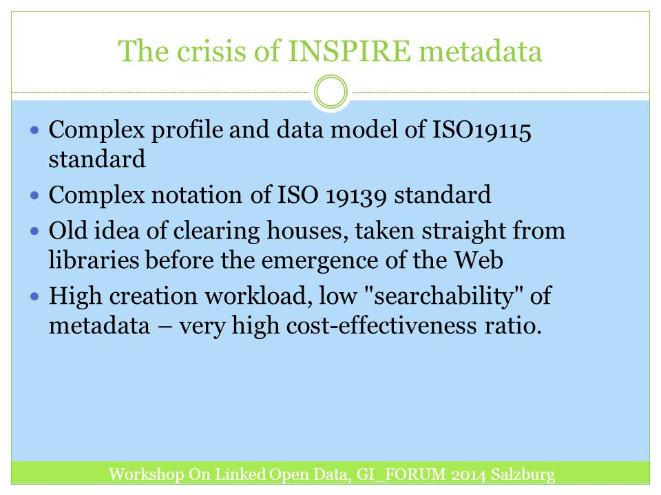 The crisis of INSPIRE metadata Complex profile and data model of ISO19115 standard Complex notation of ISO 19139 standard Old idea of clearing houses,
