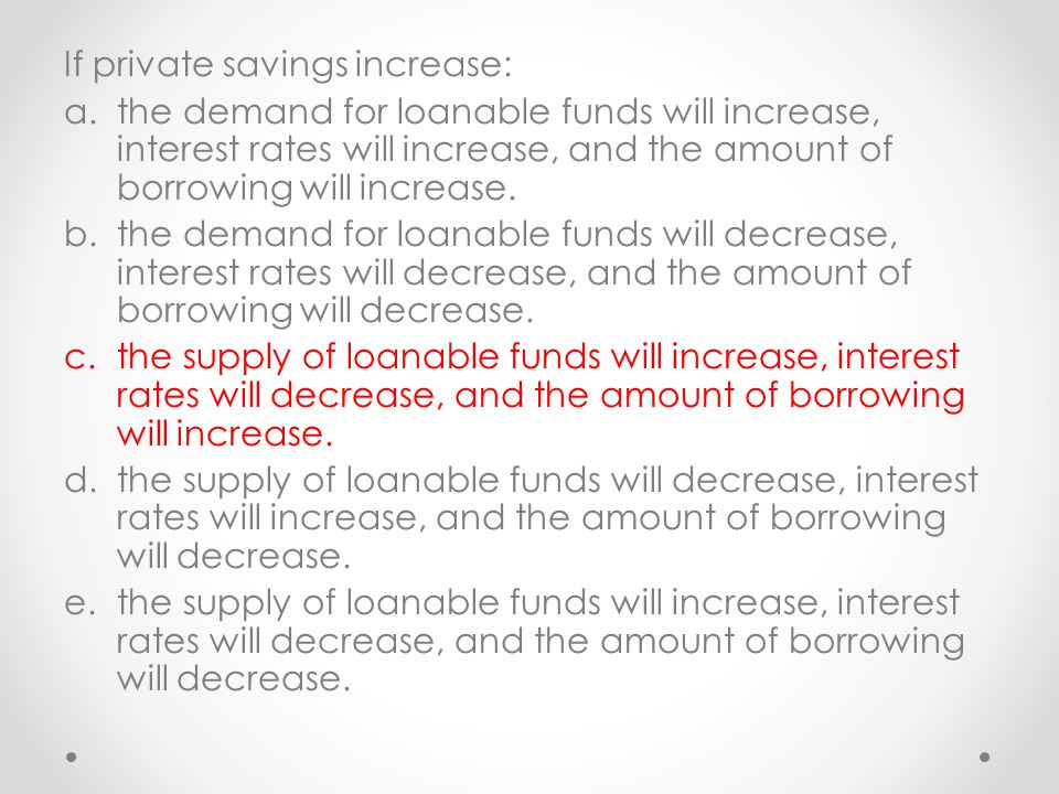 If private savings increase: a.the demand for loanable funds will increase, interest rates will increase, and the amount of borrowing will increase. b