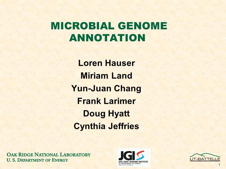 1 MICROBIAL GENOME ANNOTATION Loren Hauser Miriam Land Yun-Juan Chang Frank Larimer Doug Hyatt Cynthia Jeffries