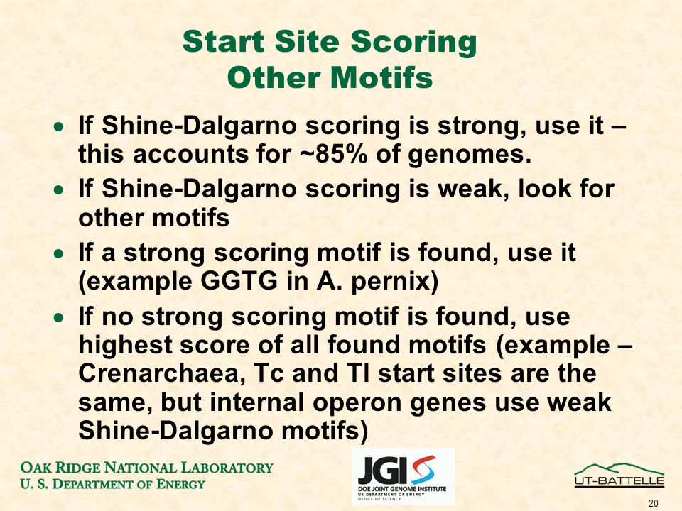 20 Start Site Scoring Other Motifs  If Shine-Dalgarno scoring is strong, use it – this accounts for ~85% of genomes.