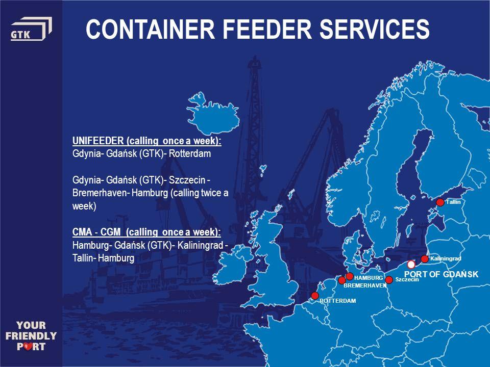 PORT OF GDAŃSK CONTAINER FEEDER SERVICES UNIFEEDER (calling once a week): Gdynia- Gdańsk (GTK)- Rotterdam Gdynia- Gdańsk (GTK)- Szczecin - Bremerhaven