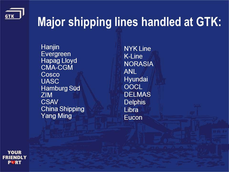 Major shipping lines handled at GTK: Hanjin Evergreen Hapag Lloyd CMA-CGM Cosco UASC Hamburg S Ü d ZIM CSAV China Shipping Yang Ming NYK Line K-Line NORASIA ANL Hyundai OOCL DELMAS Delphis Libra Eucon