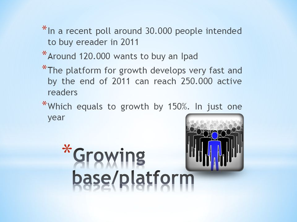 * In a recent poll around 30.000 people intended to buy ereader in 2011 * Around 120.000 wants to buy an Ipad * The platform for growth develops very fast and by the end of 2011 can reach 250.000 active readers * Which equals to growth by 150%.