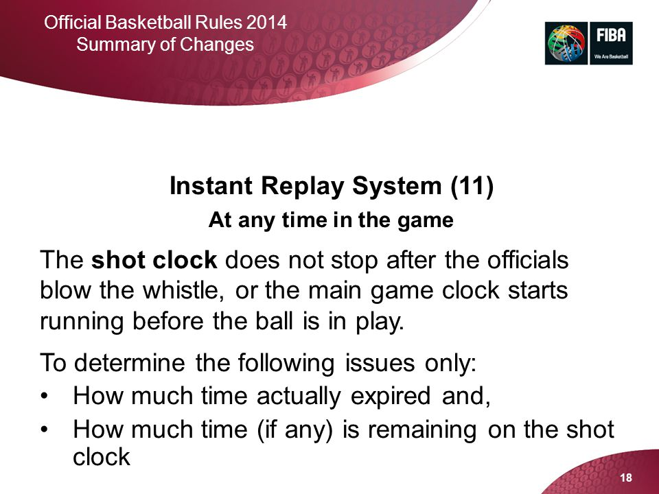 18 Official Basketball Rules 2014 Summary of Changes Instant Replay System (11) At any time in the game The shot clock does not stop after the officia