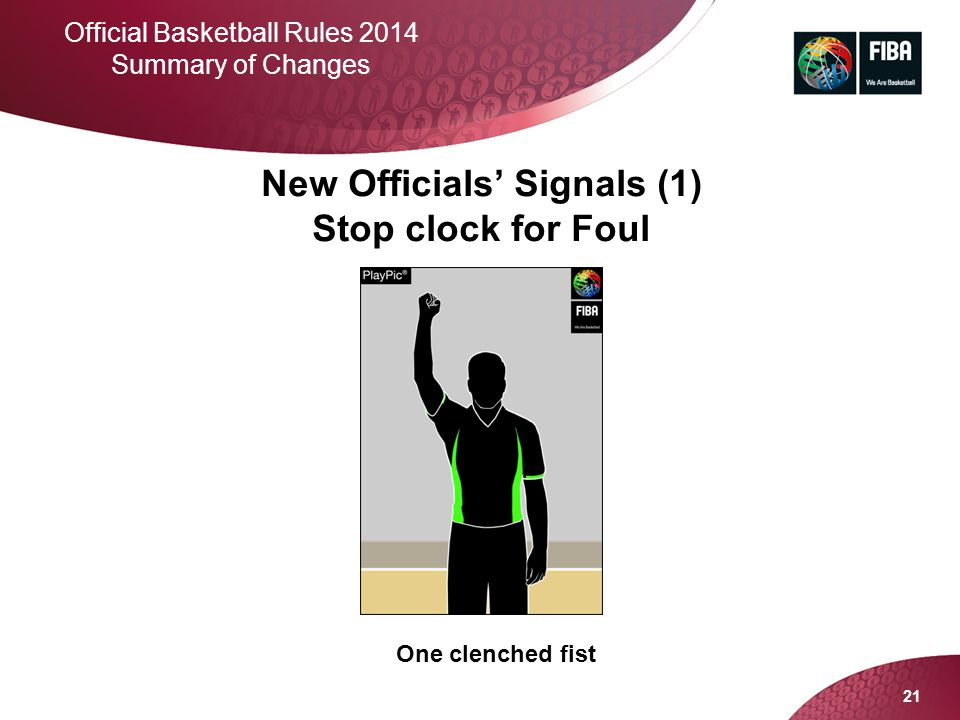 21 Official Basketball Rules 2014 Summary of Changes New Officials' Signals (1) Stop clock for Foul One clenched fist