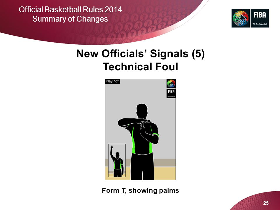 25 Official Basketball Rules 2014 Summary of Changes New Officials' Signals (5) Technical Foul Form T, showing palms
