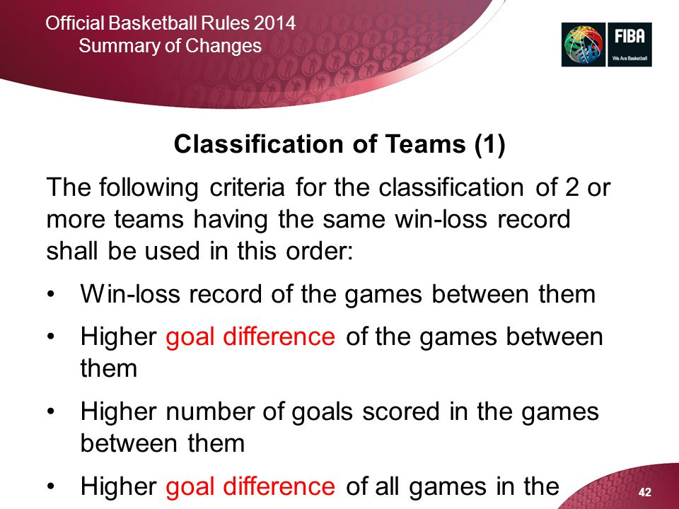 42 Official Basketball Rules 2014 Summary of Changes Classification of Teams (1) The following criteria for the classification of 2 or more teams havi