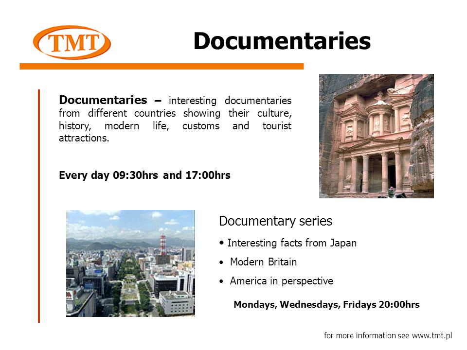 Documentaries Documentaries – interesting documentaries from different countries showing their culture, history, modern life, customs and tourist attractions.