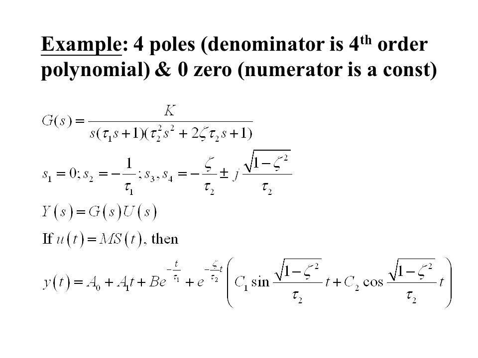 Example: 4 poles (denominator is 4 th order polynomial) & 0 zero (numerator is a const)