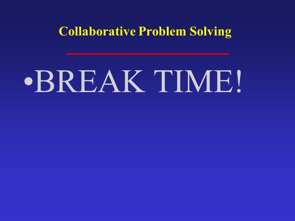 BREAK TIME! Collaborative Problem Solving