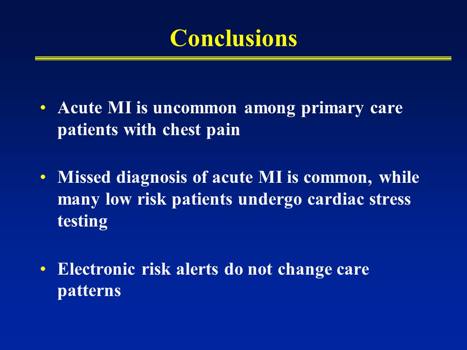 Conclusions Acute MI is uncommon among primary care patients with chest pain Missed diagnosis of acute MI is common, while many low risk patients unde