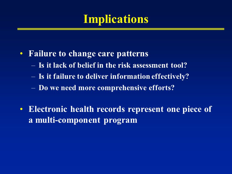 Implications Failure to change care patterns –Is it lack of belief in the risk assessment tool.