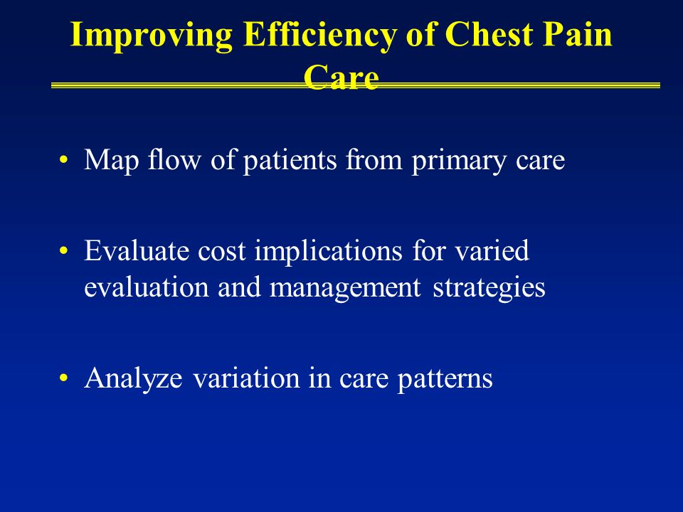 Improving Efficiency of Chest Pain Care Map flow of patients from primary care Evaluate cost implications for varied evaluation and management strategies Analyze variation in care patterns