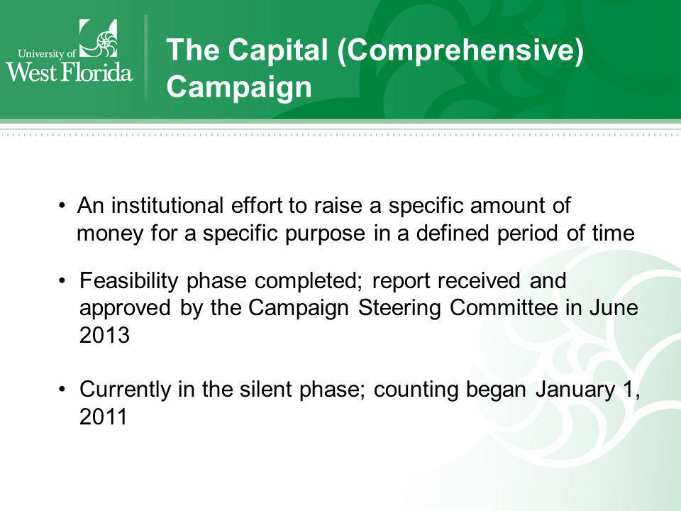 The Capital (Comprehensive) Campaign An institutional effort to raise a specific amount of money for a specific purpose in a defined period of time Fe