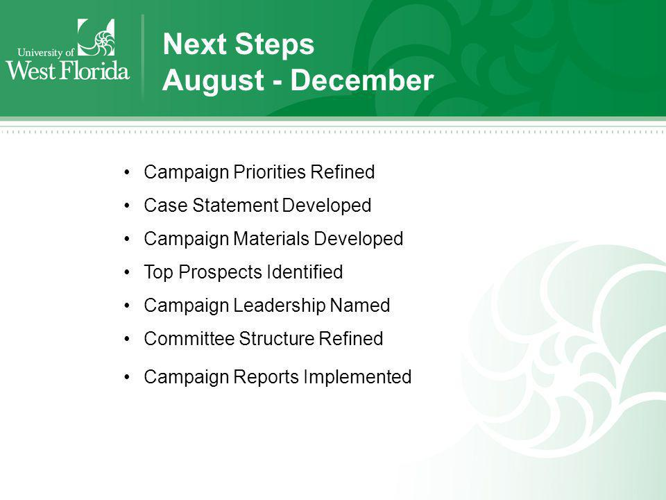 Next Steps August - December Campaign Priorities Refined Case Statement Developed Campaign Materials Developed Top Prospects Identified Campaign Leade
