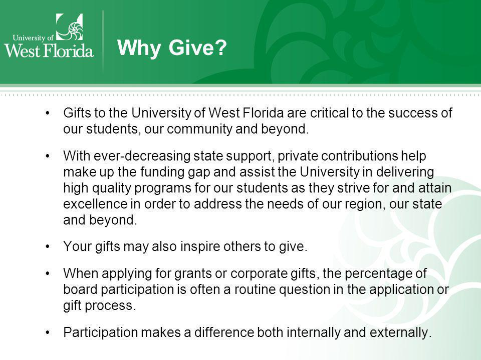 Why Give? Gifts to the University of West Florida are critical to the success of our students, our community and beyond. With ever-decreasing state su