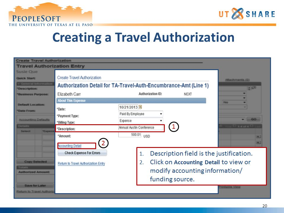 Creating a Travel Authorization 20