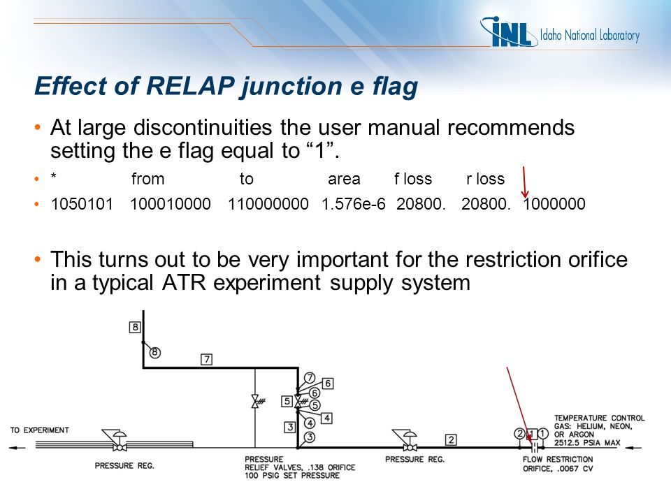 Effect of RELAP junction e flag At large discontinuities the user manual recommends setting the e flag equal to 1 .