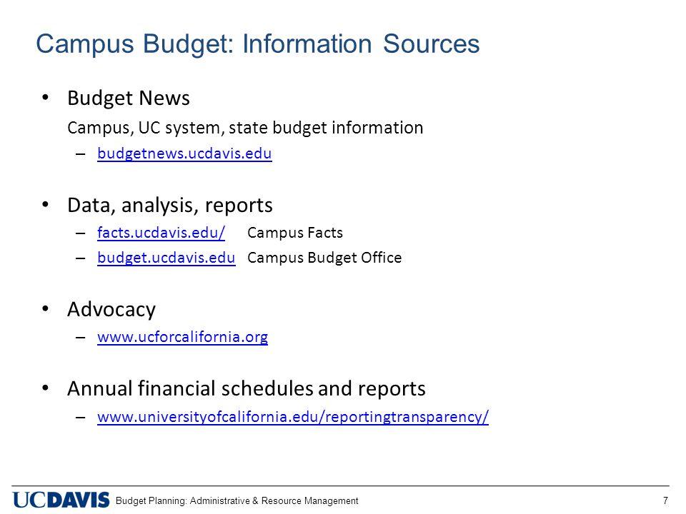Budget Planning: Administrative & Resource Management 7 Campus Budget: Information Sources Budget News Campus, UC system, state budget information – b